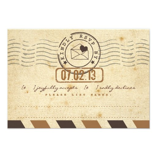 Vintage Airmail Love Letter Wedding Response Card