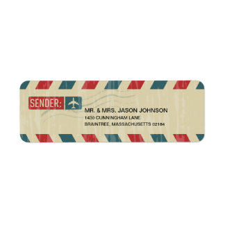 Vintage Airmail RETURN ADDRESS Mailing Return Address Label