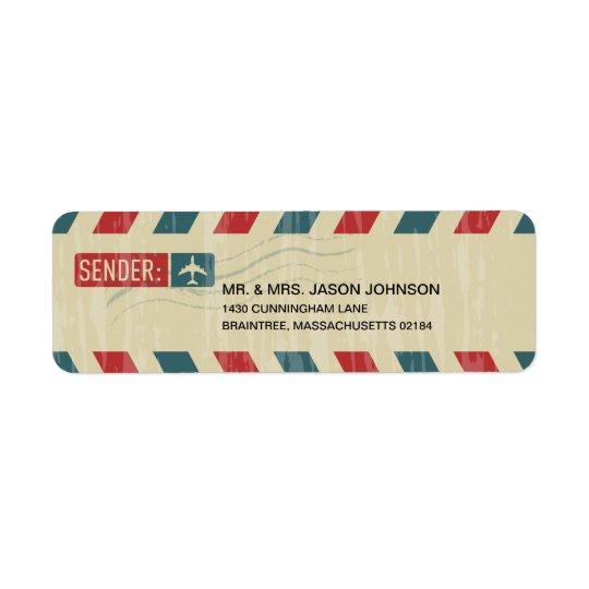 Vintage Airmail RETURN ADDRESS Mailing Return Address Label