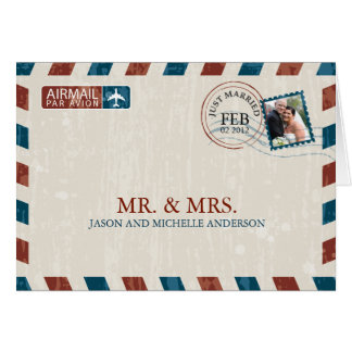 Vintage Airmail Wedding Thank You Card