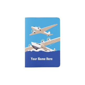 Vintage Airplane and Sea Plane Personalized Passport Holder