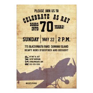 Vintage Airplane Birthday Invite