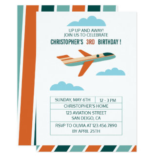 Vintage Airplane Birthday Party/Aeroplane Party Card