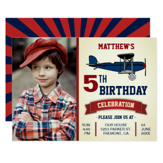 Vintage Airplane Birthday Party Photo Invitation