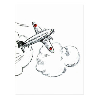Vintage Airplane Black and White Drawing Postcard