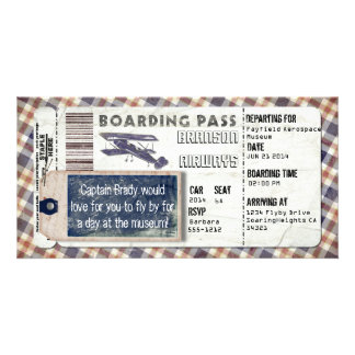 Vintage Airplane Boarding Pass Customised Photo Card