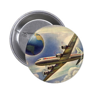 Vintage Airplane Flying Around the World in Clouds 6 Cm Round Badge