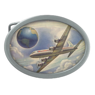 Vintage Airplane Flying Around the World in Clouds Belt Buckles