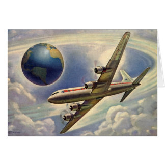 Vintage Airplane Flying Around the World in Clouds Card