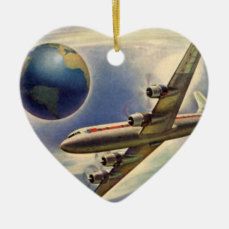 Vintage Airplane Flying Around the World in Clouds Ceramic Heart Decoration