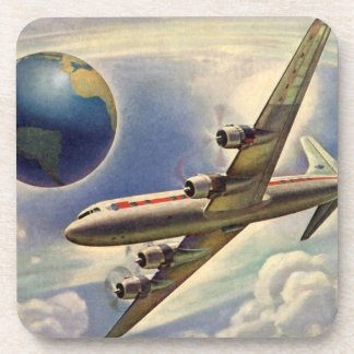 Vintage Airplane Flying Around the World in Clouds Coaster