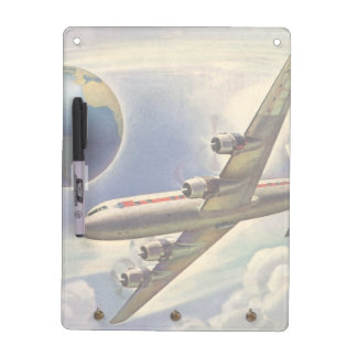 Vintage Airplane Flying Around the World in Clouds Dry Erase Board