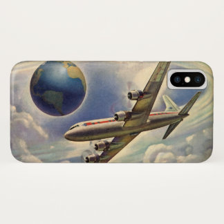Vintage Airplane Flying Around the World in Clouds iPhone X Case