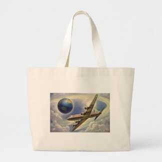 Vintage Airplane Flying Around the World in Clouds Large Tote Bag