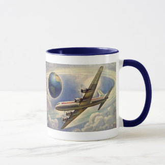 Vintage Airplane Flying Around the World in Clouds Mug