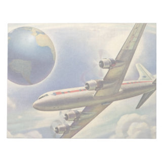 Vintage Airplane Flying Around the World in Clouds Notepad