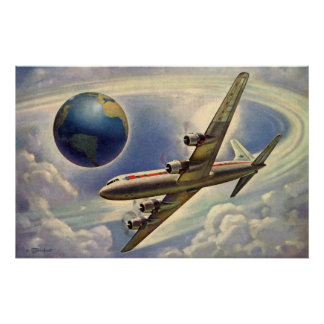 Vintage Airplane Flying Around the World in Clouds Poster