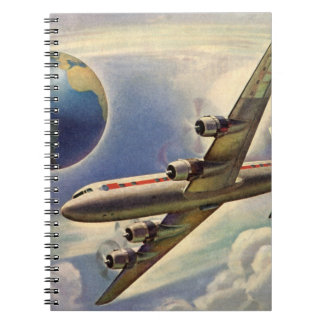 Vintage Airplane Flying Around the World in Clouds Spiral Notebook