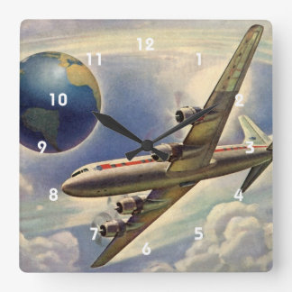 Vintage Airplane Flying Around the World in Clouds Square Wall Clock
