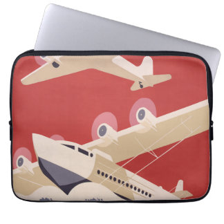 Vintage Airplane Jet WPA Federal Art Project Computer Sleeve