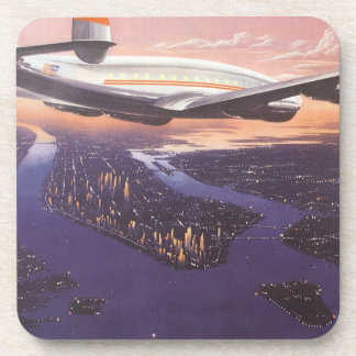 Vintage Airplane over Hudson River, New York City Beverage Coasters