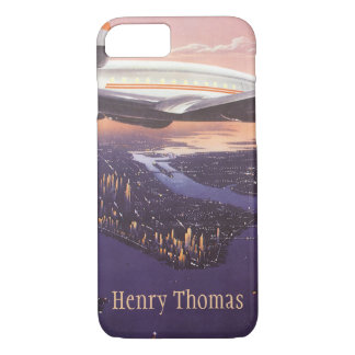 Vintage Airplane over Hudson River, New York City iPhone 8/7 Case