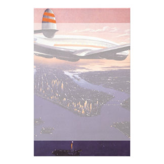 Vintage Airplane over Hudson River, New York City Stationery Paper