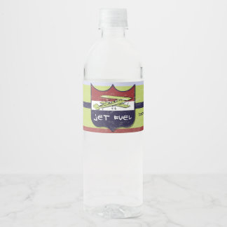Vintage Airplane Party Water Bottle Label