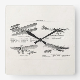 Vintage Airplane Retro Old Biplane Antique Planes Square Wall Clock