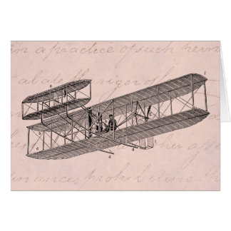 Vintage Airplane Retro Old Biplane Plane Pink Card