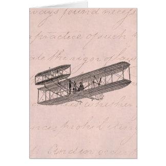 Vintage Airplane Retro Old Biplane Plane Pink Card