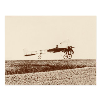 Vintage airplane taking off postcard