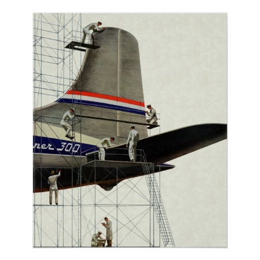 Vintage Airport Airlines Airplane Maintenance Poster