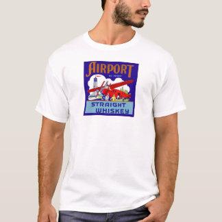 Vintage Airport Airplane Pilot Trip Whiskey Label T-Shirt
