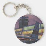 Vintage Airport, Passengers Boarding Aeroplane Key Chain