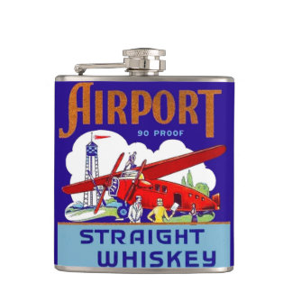 Vintage Airport Whiskey Label Airplane Pilot Flask
