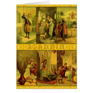 Vintage Aladdin Christmas Montage Greeting Card