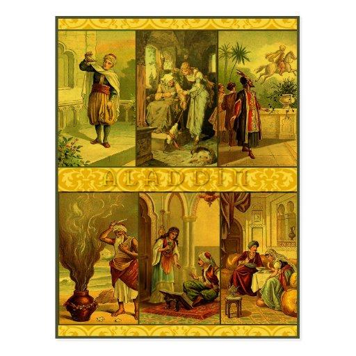 Vintage Aladdin Christmas Montage Post Card