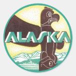 Vintage Alaska Travel Totem Pole Eagle Bird Round Sticker