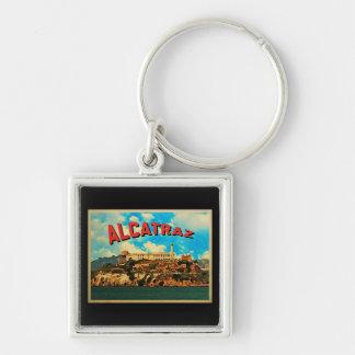 Vintage Alcatraz Island Silver-Colored Square Key Ring