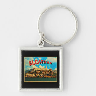 Vintage Alcatraz Island Silver-Colored Square Key Ring