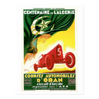 Vintage Algeria 1930 Racing cars Grand Prix Postcard