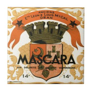 Vintage Algerian Wine label,  Mascara Small Square Tile