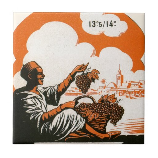 Vintage Algerian Wine label,  Mascara Tile