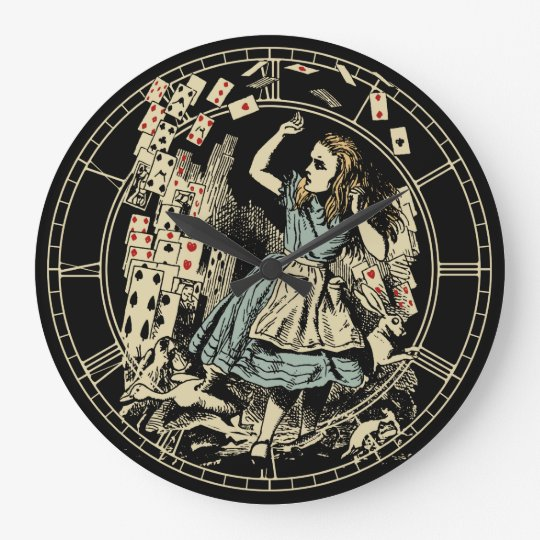 Vintage Alice Cards Flying Large Clock
