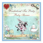 Vintage Alice in Wonderland Baby Shower Tea Party 13 Cm X 13 Cm Square Invitation Card
