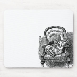 Vintage Alice in Wonderland book drawing Mouse Pad