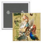 Vintage Alice in Wonderland collage 15 Cm Square Badge