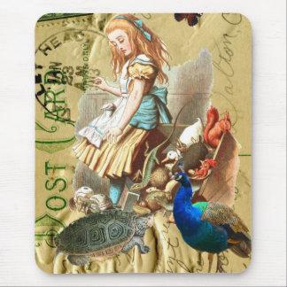 Vintage Alice in Wonderland collage Mouse Pad