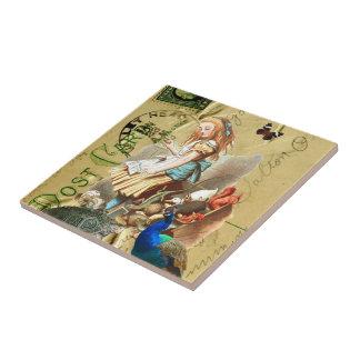 Vintage Alice in Wonderland collage Small Square Tile